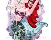 Mermaid Burlesque lingerie Pin Up watercolor inspired by ARIEL Art print by Carla Wyzgala Carlations