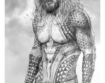 Aquaman Giclee print of pencil drawing of Jason Mamoa