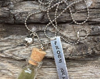 halloween jewelry frogs breath skull charm inspirational sayings necklace mixed media hand stamped necklace jewelry
