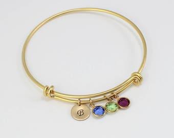 Birthstone Bracelet for Mom, Gold Bangle Charm Bracelets, Personalized Bangle, Birthstone Bangle, Birthstone Bracelet, Gift For Mom Grandma
