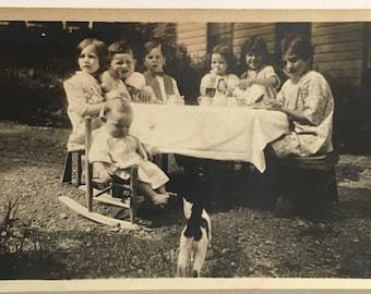"Vintage Photo ""Tea Party Tuesdays"" Snapshot Antique Black & White Photograph Paper Found Ephemera Vernacular Interior Design Mood - 99"