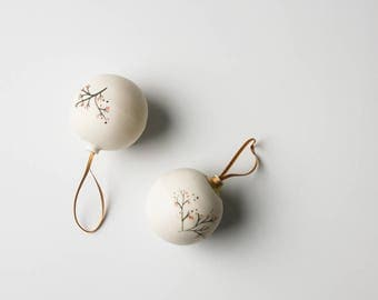 christmas baubles, small christmas gift, white porcelain baubles, christmas tree decoration, gift for hostess, for work colleague, for boss