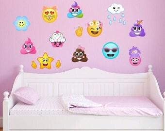 12 Large Girl Emoji Wall Decal Poop Emoji Troll Cat Emojis Peel and Stick Repositionable