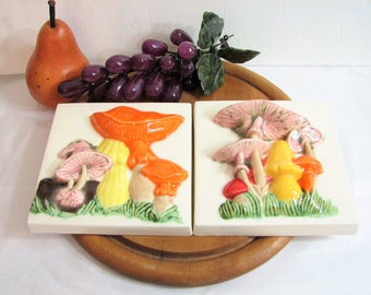 Groovy Ceramic Mushroom Wall Tiles, Vintage Ceramic Toadstool Wall Plaques, Colorful 3D Relief Tiles ... 1970s Retro Kitchen Decor