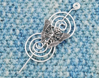 Butterfly Shawl Pin in Silver