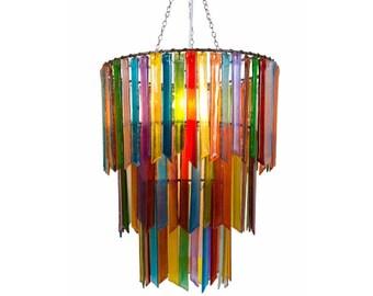 Rainbow Rhapsody – Three Tier Chandelier - Glass Chandelier - Colourful Chandelier - Glass Lighting - Pendant Light - Light Fixture - Decor