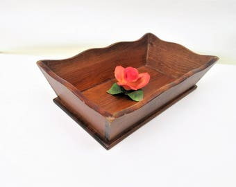 Vintage Wooden Tray | Wood Bowl | Serving Tray | Wood Organizer | Wooden Box