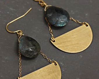 Labradorite and Brushed Brass Geometric Chandelier Earrings
