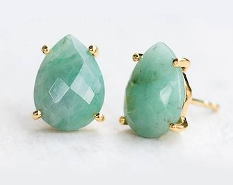 Raw Emerald Stud Earrings - May Birthstone Post Earrings - Gold Stud Gemstone Earrings - Teardrop Studs - Prong Set studs