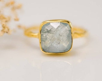 Aquamarine Ring Gold, March Birthstone Ring, Stacking Ring, Gemstone Ring, Gold Ring, Square Stone Ring, Dainty Ring, Boho, Gift for Her