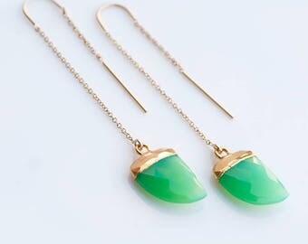 Horn Threader Earrings - Mint Green Chrysoprase Earrings - Gold Ear Thread Earrings - Ear Threader Earrings - Minimal - Long Thin Earrings