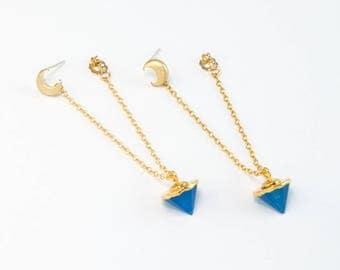 Moon Earrings Dangle, Blue Gemstone Spike Earrings, Simple Moon Earrings, 14k Gold Fill Hoop Chain Earrings, BFF Gift, Moon Phase Jewelry