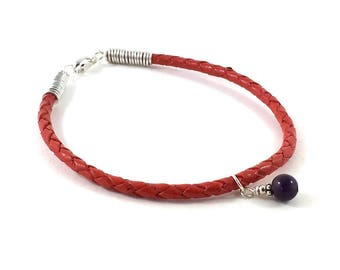 Love Passion Lucky Chilli Red Leather Bracelet, Silver Wire Wrapped Braided Bracelet, Christmas New Year Gift for Him, Girlfriend, Boyfriend
