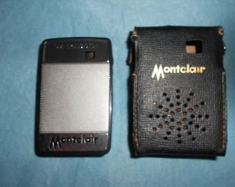 """Japanese Transistor Radio WORKING """"Montclair"""" Black Case Silver Mesh Grill Six Transistor Pocket Model In Leather Case 60s Classic"""