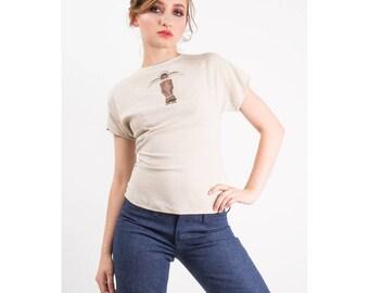 Vintage hand painted blouse / 1950s Kachina linen zipper back top / Southwestern style blouse S