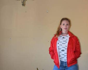 Stand Out - Vintage Bright Red Windbreaker Jacket with Zip Away Hood Womens Size Small/Med Unisex