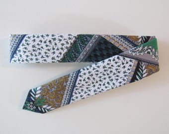 Patchwork Skinny Tie, 1970s // Cotton & Silk Necktie