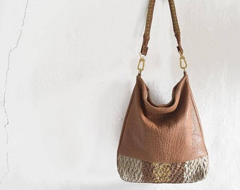 Caramel Leather Hobo Purse with Woven Gold Leather Stripe  - Ready to Ship.
