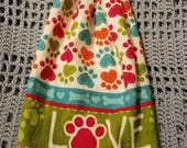 READY TO Ship--Crochet Kitchen Towel--Double Layer Hanging Towel-- Pawprint Love