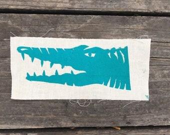 "Crocodile Mini-Patch--Block-Printed, 5""x3"""