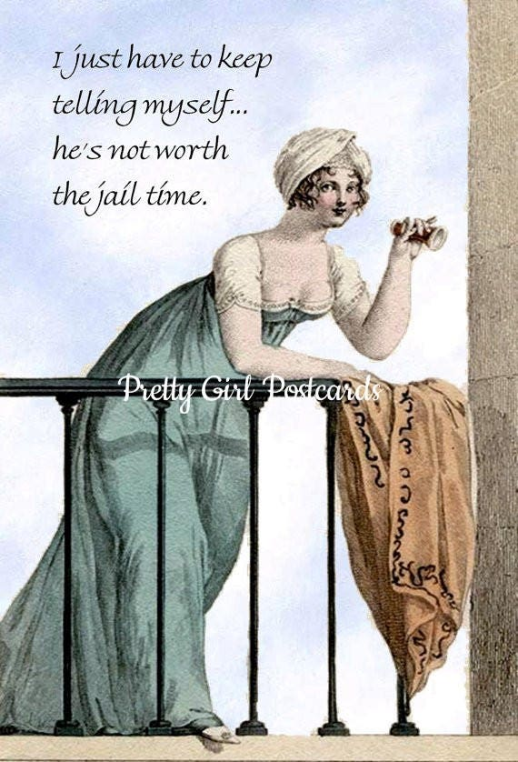 """I Just Have To Keep Telling Myself... He's Not Worth The Jail Time. ~ Marie Antoinette Funny 4"""" x 6"""" Postcards  Free Shipping in USA"""