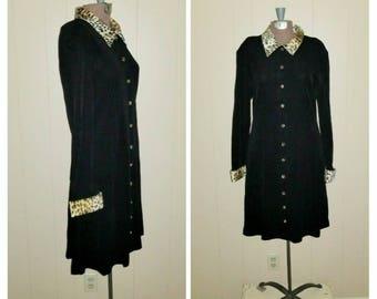 Zippity Zoo .. Vintage 80s 90s mini dress / leopard trim faux fur / black knit suit coat / animal print a line .. M L / bust 38