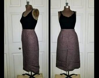 Strut ..... Vintage 50s skirt / 1950s pencil sheath straight / high waist / tweed wool A line /  60s mad men secretary .. S