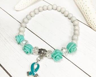 Ovarian Cancer Awareness Bracelet, Teal Ribbon Awareness Bracelet, PCOS Awareness Bracelet, PTSD Awareness Bracelet, Teal Awareness Bracelet