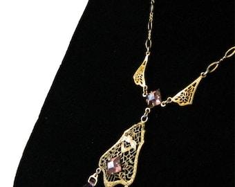 Vintage 1920's Art Deco Pendant Necklace Gold and Purple