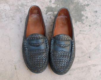 Vintage Mens 10e Allen Edmonds Norwalk Slip On Penny Loafers Woven Loafer Oxfords Black Leather Sandals Huaraches Boat Deck Topsider Shoes