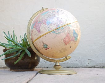 Vintage Crams Imperial World Globe With Metal Stand Home Decor Vintage Globe Pink Beige Blue Green Globe Hipster Student Classroom Globe Map