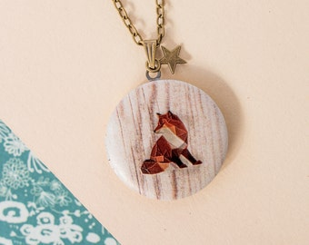 Fox Locket, Woodland Locket, Foxy Necklace, Fox Jewellery, Fox Pendant, Fox Gift, Bronze Fox Locket, Geometric Fox Locket, Geometric Locket
