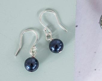 Navy Pearl Earrings, Navy Bridesmaid Earrings, Navy Pearl Jewellery, Navy Pearl Bridesmaid Jewellery, Navy Pearl Bridesmaid Earrings, Navy
