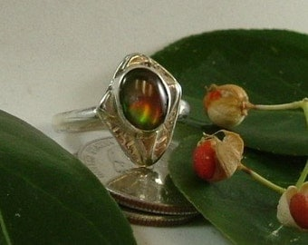 Ammolite Ring Size 9 Sterling Silver Handmade Red Orange Green Yellow Fire Utah Gem Ammolite Fossil Statement Ring Statement Jewelry  724