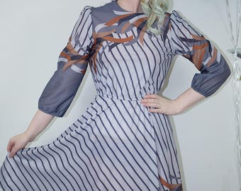 Vintage 1980s 1970s Abstract Striped Secretary Dress, Grey Secretary Dress, Striped Vintage Dress, 80s, 70s, vtg, Abstract 70s, secretary
