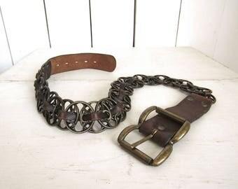Leather Chain Link Belt - Brass Metal Belt - Early 90s Steampunk Vintage Belt - Small S - 1.5 Inch Wide
