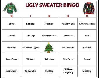 Ugly Sweater Party Bingo Game (30 Cards)  Christmas Holiday Bingo Words -Very Fun For All Ages! Print and Play!