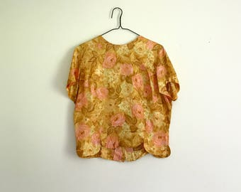 1960s pink and gold rose shell blouse - medium