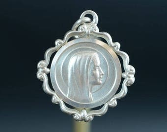 """Vintage Holy Virgin Mary Lourdes Silver  Religious Medal Pendant on 18"""" sterling silver rolo chain"""