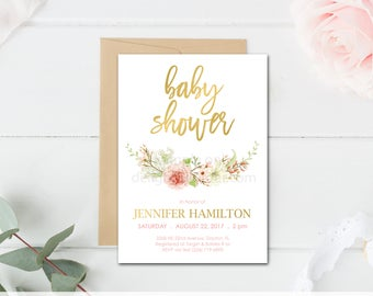 Floral Baby Shower Invitation, Boho Baby Shower, Floral Shower Invitation, Pink & Gold Shower Invitation, JPEG Digital File, You Print