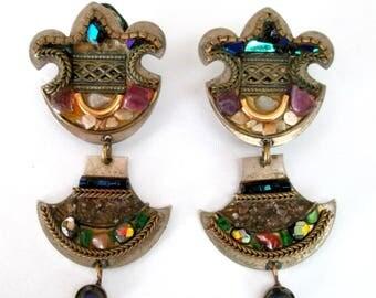 Fleur de Lis Ayala Bar Earrings / Mixed Media Glass Stone Mosaic Clip Ons / Art Nouveau Byzantine Boho Chic