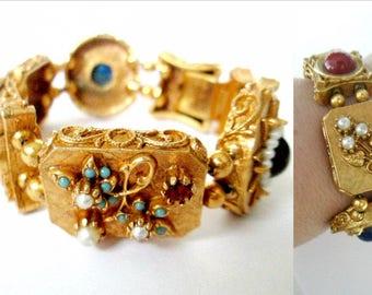 Mid Century Gold Gemstone Bracelet // Signed ART Costume Gems