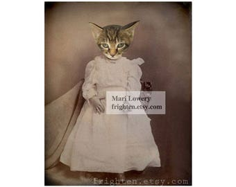 Cat in Dress Mixed Media Collage 8.5 x 11 Inch Art Print, Animals in Clothes, Animal Wall Art Nursery Decor