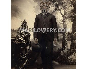 Leopard Art, Anthropomorphic, 8.5 x 11 Inch Print, Masculine Wall Art, Animal in Clothes, Victorian Man, Animal Portrait, Cat in Suit