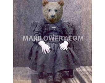 Brown Bear Cub Art, Anthropomorphic Nursery Wall Art Animal in Clothes 5x7 Print or 8x10 Print