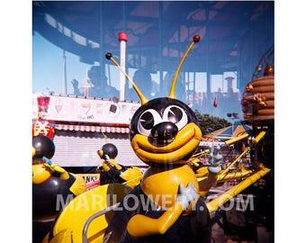 Coney Island Photography Print, Bee Ride, Holga Double Exposure, 8x8 Inch Metallic Print, Summer Photography, Nursery Decor