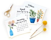 2018 Small Desk Calendar Refill | Watercolor + Calligraphy Handmade Desk Calendar Plants Cactus Herbs Watercolor