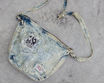 Jordache 1980s Acid Wash Denim Cross Body Bag Vintage Crossbody Shoulder Hobo Tote Frayed Denim 7VV