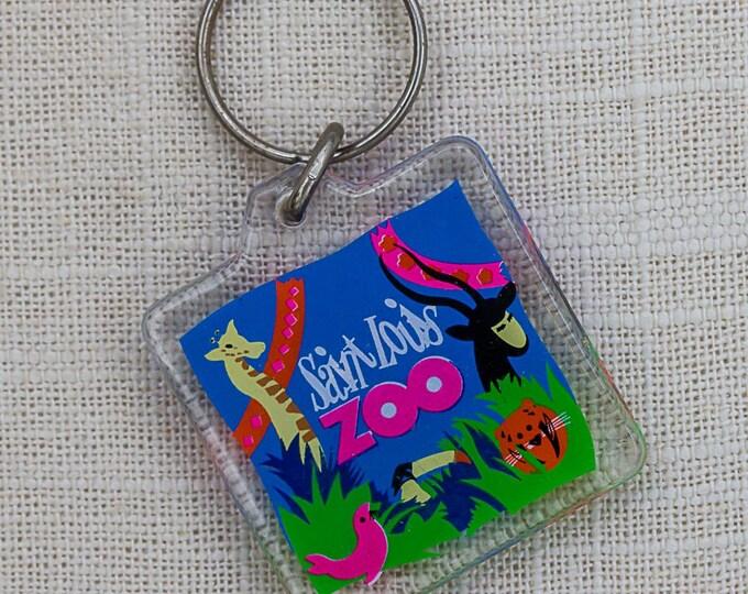 Vintage Saint Louis Zoo Keychain Bright Colorful Neon Animals Key FOB Key Chain 7PP