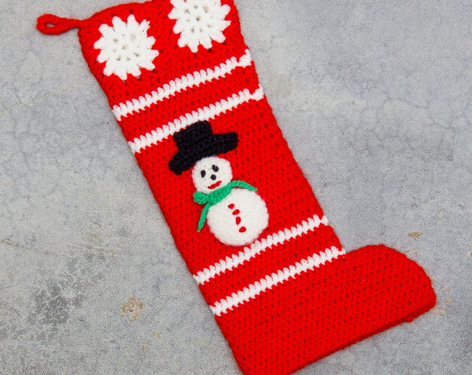 Snowman Christmas Stocking Vintage Old School Hand Knit Chunky Holiday Mantle 7CJ
